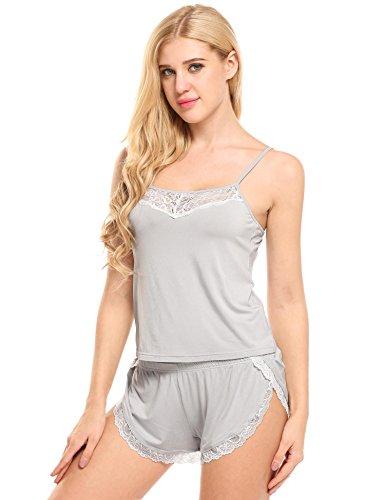 Ekouaer Damen Zweiteiliger Viskose Schlafanzug Cami Set Lace Trimmed Striped Top und Elastische Taille Shorts Pyjamas Nachtwäsche B Grau