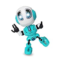 Elviray Voice Changer Talking Robots for Kids Mini Metal Robot Toy with Posable Body Educational Smart Learning Stem Toys