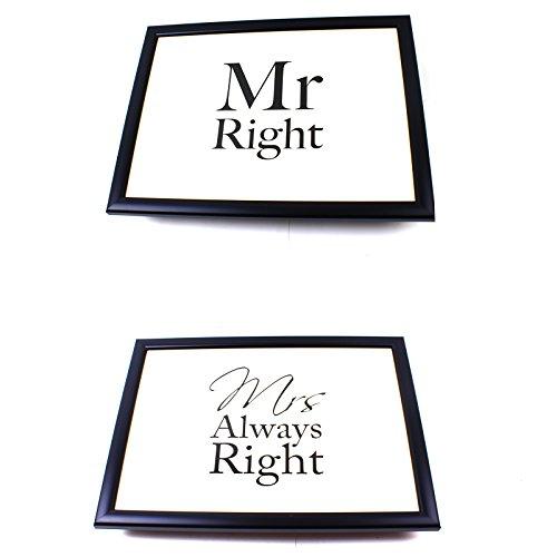Lesser & Pavey Knietablett Sitzsack Frühstück Student Abendessen Kissen Mr Right und Mrs Always...