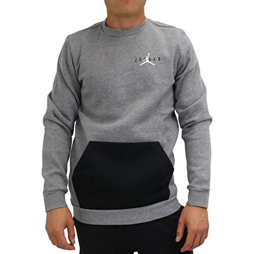 Nike Herren Pullover Jumpman Air Fleece Crew, Grau (Carbon Heather/Black/White 091), Medium