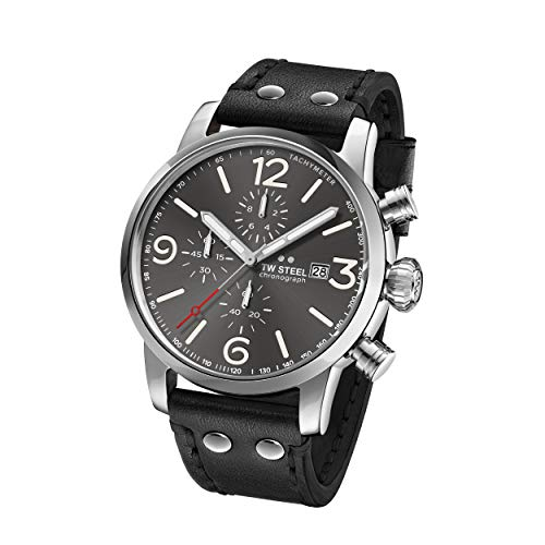 TW Steel Unisex Erwachsene Chronograph Quarz Uhr mit Leder Armband MS93