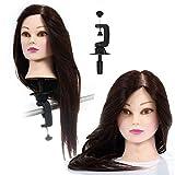 Übungskopf Trainingskopf für Frisöre Friseur Frisierkopf mit langen Haaren Mannequin Puppenkopf Schminkkopf mit Halter, 50% Echthaar, 23 Zoll
