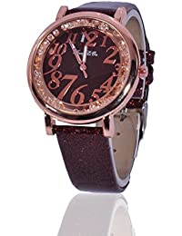 Fusine™ Fashion Double Stone Studded 3D Leather Analog Watch For Women (Round) Party Wear (Brown)