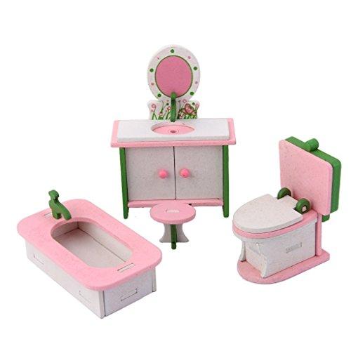 ma-on miniatura de madera para casa de muñecas mobiliario cuarto de baño Set