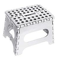 ASAB® Small Folding Step Stool Plastic Multi Purpose Slip Resistant Top Step Foldable Easy Storage Home Kitchen Max Load 150kg - 25 x 21 x 21cm (White Polka Dot)