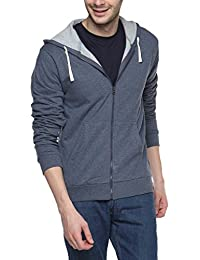 Campus Sutra Men's Cotton Denim Zipper Hoodie