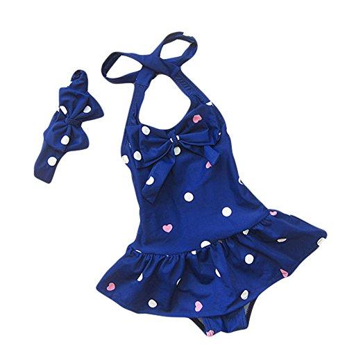 TAIYCYXGAN Baby Kind Mädchen Badeanzug Prinzessin Badekleid Badekleidung Set mit Stirnband