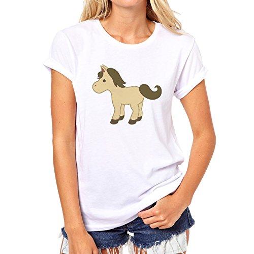 Horse Animal Pony Stud Small Brown Tal Damen T-Shirt Weiß