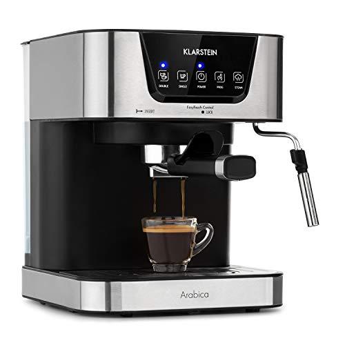 Klarstein Arabica Cafetera de espressos - 1050 W de potencia, 15 bares, Depósito de 1,5 litros, Pantalla LED digital, Rejilla lavable, Espumadera, Depósito de agua extraíble, Acero inoxidable