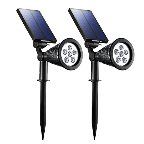 Focos Solares de VICTSING, Impermeable IP65, Ningunos Alambres Requeridos, Sensor Automático Encendido/Apagado para Patio, Paisaje, Yarda [6 LED,2Packs]