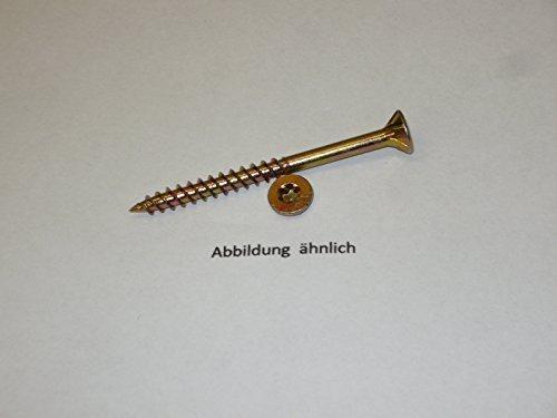 Spanplattenschrauben 5x60-1000 Stück Fräsrippen am Senkkopf ,gelb verzinkt, Torx I.-Strern TX 25,Teilgewinde, inkl.1 passender Torx Bit