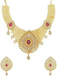 Voylla Traditional Brass With Yellow Gold Plated Cubic Zirconia Necklace Sets For Women - B0783Q22SC