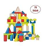 B&Julian de Frein de Construction Bois 75Naturel Multicolore Cubes en Bois Bébé Jouet pour bébé Enfants à Partir DE 18Mois