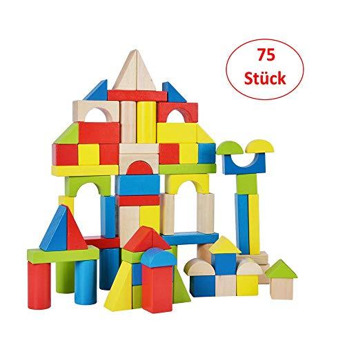 B&Julian ® Holzbausteine groß 75 TLG. Bauklötze aus Holz Natur bunt Kleinkindspielzeug für Kinder Baby ab 18 Monate