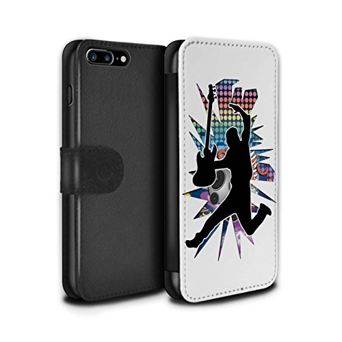 Stuff4 Coque/Etui/Housse Cuir PU Case/Cover pour Apple iPhone 7 Plus / étendre Noir Design / Rock Star Pose Collection Saut Blanc