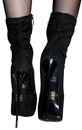 Arte EROGANCE pelle scamosciata Plateau High Heels stivaletti A5738/EU 37-46 nero