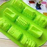 Zug Form Kuchenform Eis Gelee Schokoladenform, Silikon 35 x 25 x 4 cm (13,8 x 9,8 x 1,6 Zoll)