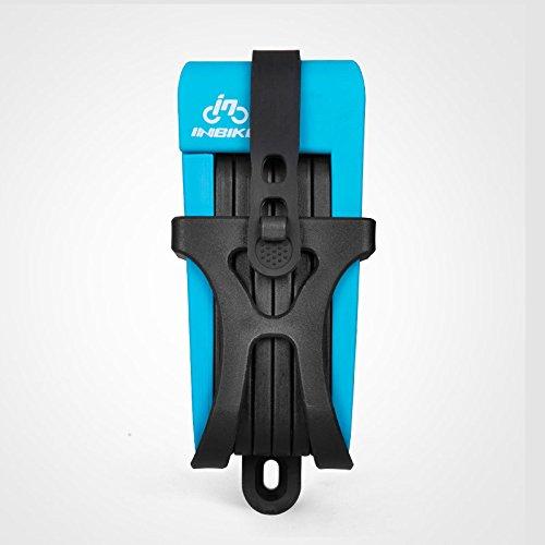 INBIKE Anti-Shear von 12Tonnen Hydraulischer Cutter Bike Lock Anti-Diebstahl Motorrad Lock candado Elektro-Fahrrad Tragbar Mini Folding Lock, Standard Blue