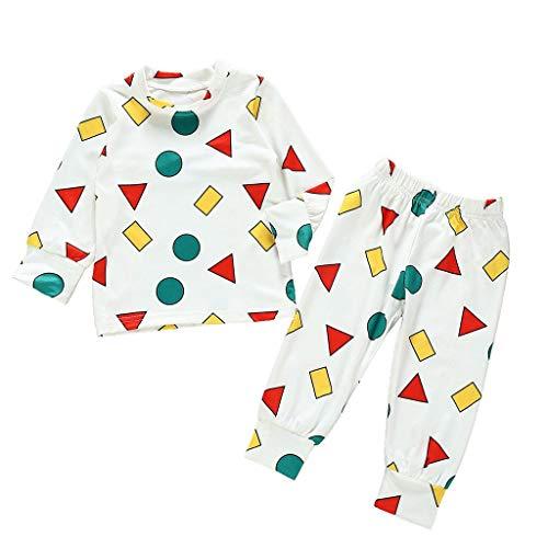 wuayi Unisex Baby Schlafanzüge Weihnachtskostüm Baby Mädchen Jungen Geometrie Schlafanzugoberteile + Schlafanzughosen Bademäntel Kinderkleidung Babykleidung