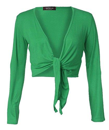 Damen Schulterzucken Plain Langen Ärmeln Mit Schnürung Vorn Viskose (Grün Schulterzucken)