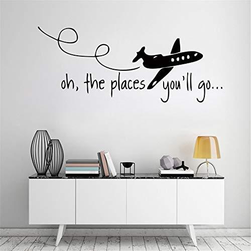 Wandaufkleber Oh Die Places You'Ll Go Dr Seuss Kinder Jagd Zitat Home Wandaufkleber Für Kinderzimmer Wohnzimmer Dekor (Dr Seuss Elefant)