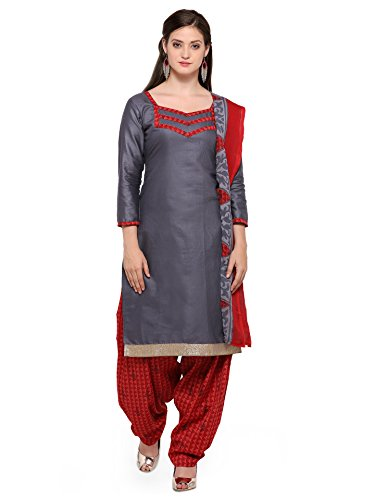 Ishin Poly Cotton Grey & Red Solid Party Wear Wedding Wear Casual Wear Bollywood New Collection Latest Design Trendy Unstitched Salwar Suit Dress Material (Anarkali/Patiyala) With Dupatta  available at amazon for Rs.999