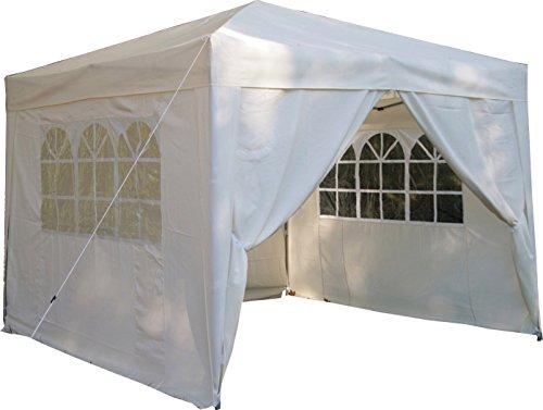 Airwave Pop-Up Pavillon, 3 x 3 m, creme, wasserfester GartenPavillon, 2 Windstangen und 4 Gewichte für die Beine