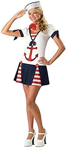 Teenage Girls Sailor Uniform Armed Forces Halloween Fancy Dress Costume Outfit 12-17 years (12-13 years)