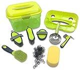 Adozen Pferde-Putzbox mit Inhalt für Kinder und Erwachsene | 9-Teilig befüllt | Soft Touch Antirutschgriffe | Limette-Grün-Gelb