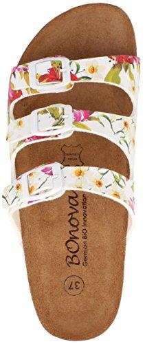 BOnova® Menorca Pantoletten in 7 Farben für Damen, Hausschuhe mit Korkfußbett - HANDMADE IN SPAIN Flowered white