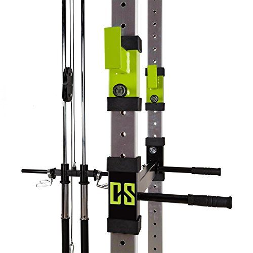 CAPITAL SPORTS Tremendour Power Rack • Power Cage • Kraftstation • mit Latzugturm • 2 x Safety Spotter: 20-stufig • 4 x J-Hooks • Multigripp-Klimmzugstange • aufsteckbare Dipstangen • Stahl-Kantrohrrahmen • silber -