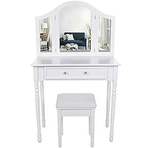 Songmics coiffeuse meuble blanc table de maquillage for Coiffeuse meuble en anglais