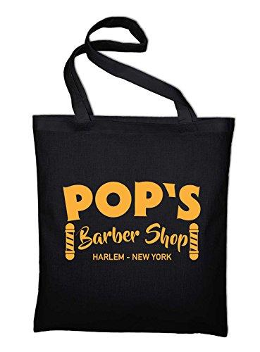 Pop's Barbeshop Harlem New York Jutebeutel, Beutel, Stoffbeutel, Baumwolltasche Schwarz
