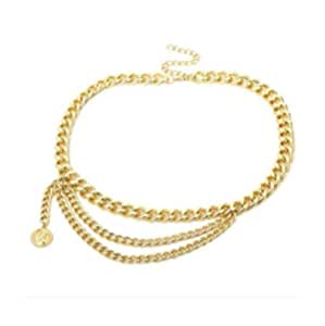 LIVISORB Female Kamar bandh for Women | Kamarpatta Waist Chain for Women | Free Size Golden Color, for Casual Dress and Special Occasions