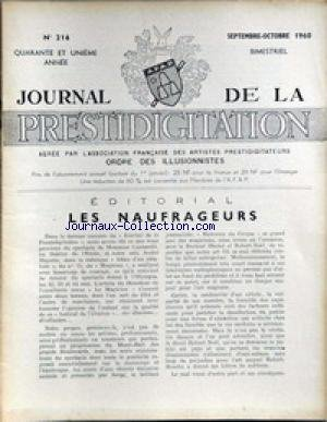 JOURNAL DE LA PRESTIDIGITATION [No 216] du 01/09/1960 - LES NAUFRAGEURS. par Collectif