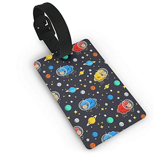 VAICR Kofferanhänger,Outer Space Astronaut Sheep Luggage Tags Assorted Travel Suitcase Labels Business ID Card Holder (Dekor Outer Space)