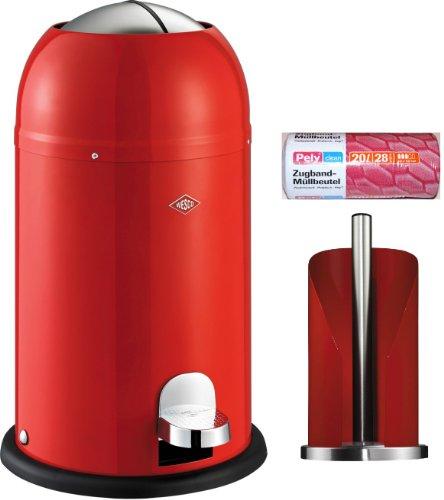 Preisvergleich Produktbild Wesco Kickmaster junior 12-Liter Abfallsammler rot + Küchenrollenhalter rot + 28 Müllbeutel im Set