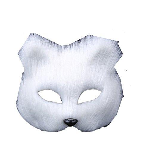 Maskerade,Make-Up Tanz Masken Tiere die Hälfte Männer und Frauen ins Gesicht Performances Halloween Requisiten langhaariger Fuchs ()