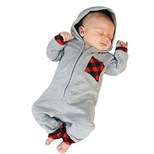 Longra Neugeborenes Baby Mädchen Jungen Kapuzenpullover Strampler Set Babymode Unisex Kleidung mit Plaid Overall Langarm Body Baby Schlafstrampler(0 -24 Monate) (80CM 6Monate, Gray)