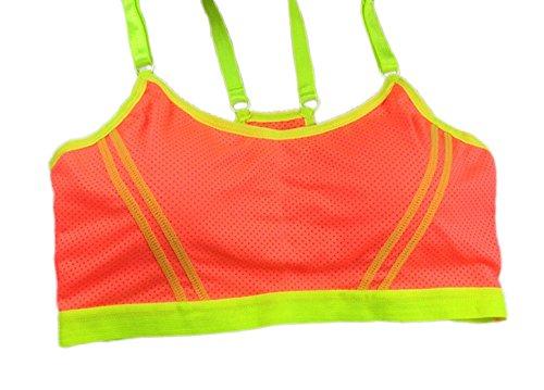 Sport BH Damen ohne Bügel - Gepolstert Bustier in tollen Farben Größe: M Orange/Gelb