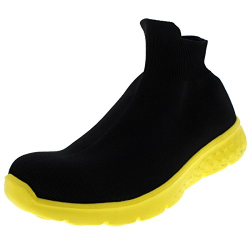 Donna leggero calzino scivolare su a passeggio sport in esecuzione primeknit formatori - nero/giallo - uk3/eu36 - bs0157