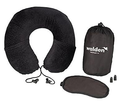 Reisekissen mit Memory schaum von Walden Co. | Orthopädisches Nackenhörnchen / Nackenkissen flugzeug in U-Form mit 2 großen Seitentaschen. Pillow Set 3 in 1: kompakter Hülle, Augenmaske & Ohrstöpsel.