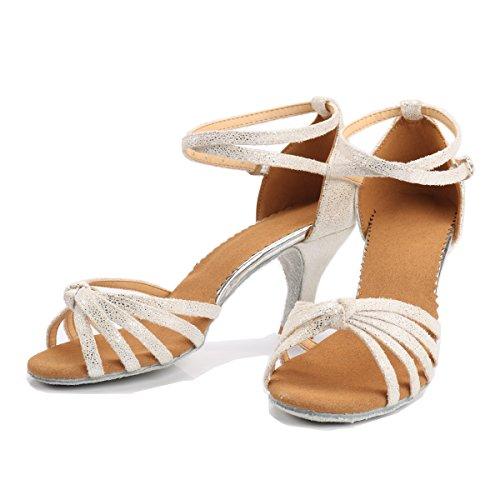 VESI Damen Hoher Absatz Tanzschuhe Standard/Latein Weiß 38(Absatz 5cm) - 3