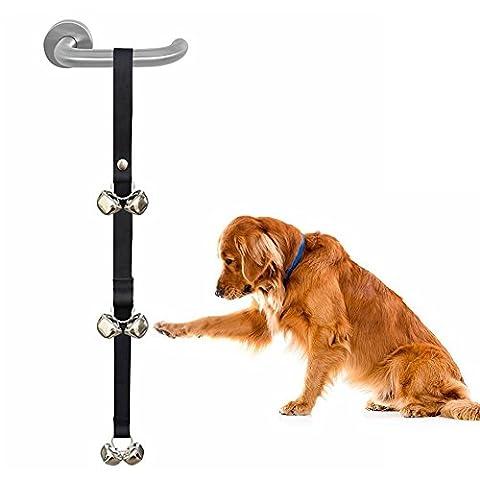 Chien d'apprentissage de la propreté de porte de cloches, longueur réglable pour animal domestique Tinkle Bells, 6pcs Grand Fort Doggy Bells pour maison d'entraînement, WC d'entraînement (Noir, Rouge, Bleu)