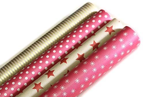 Premium Retro Geschenkpapier aus ökologischem Recycling-Papier - Hochwertige Geschenkverpackung für Geburtstage, Ostern oder Weihnachten - 4 Rollen