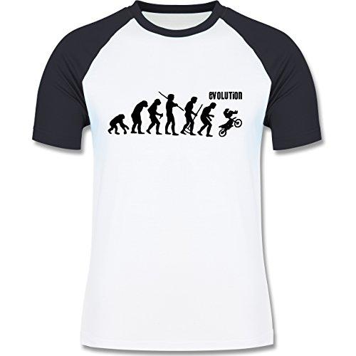 Evolution - Motocross Evolution - zweifarbiges Baseballshirt für Männer Weiß/Navy Blau