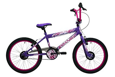 Flite Girls' Manic Freestyle BMX Bike - Purple/Cerise , 20 Inch