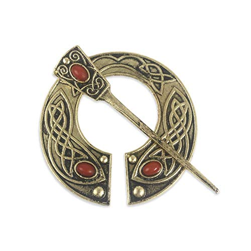 """Silvery 2-1//4/"""" Smooth LEAF ENDS Celtic PENANNULAR Cloak Brooch with 2-3//4/"""" pin"""