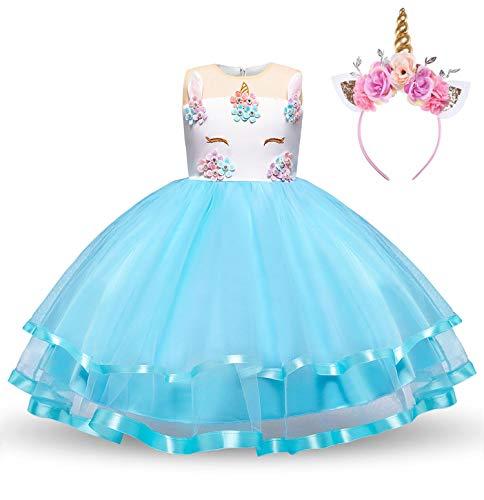 Romance Zone Disfraz de Unicornio Princesa Vestido de Fiesta Tutu Faldas de Tul para niña Cosplay Boda Carnaval Bautizo Cumpleaños Comunión Actuación con Diadema Unicornio