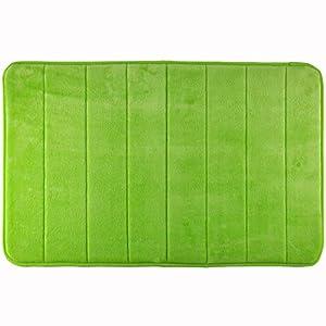 WohnDirect Duft Badezimmerteppich 50 x 80 cm • Rutschfester Badvorleger - Waschbar & Schnelltrocknend • Moderner weicher Microfaser Duschvorleger • Badteppich fürs Badezimmer 50 x 80 cm Grün